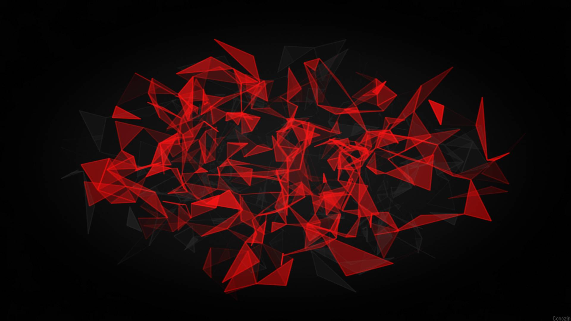 1920x1080 Red And Black Polygon 1080P Laptop Full HD