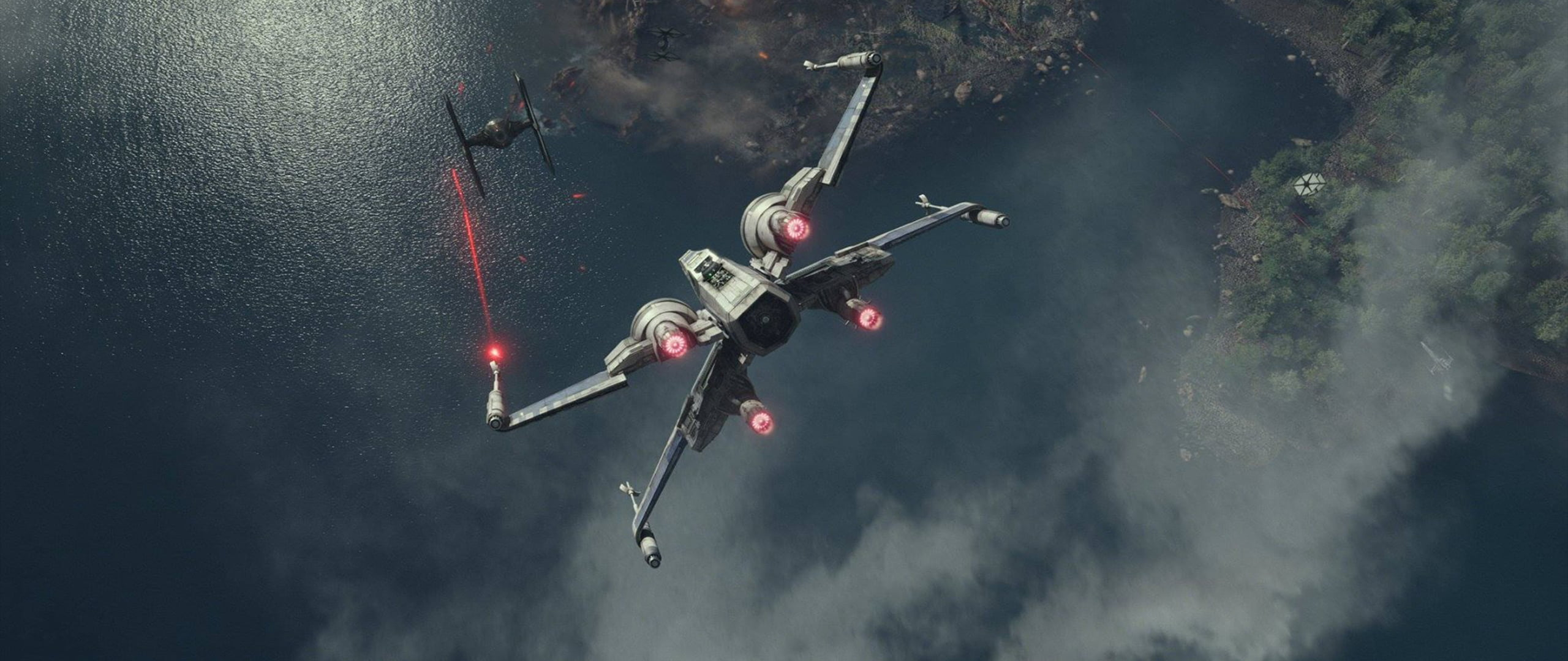 Fighting aircraft digital wallpaper ultra wide Star Wars