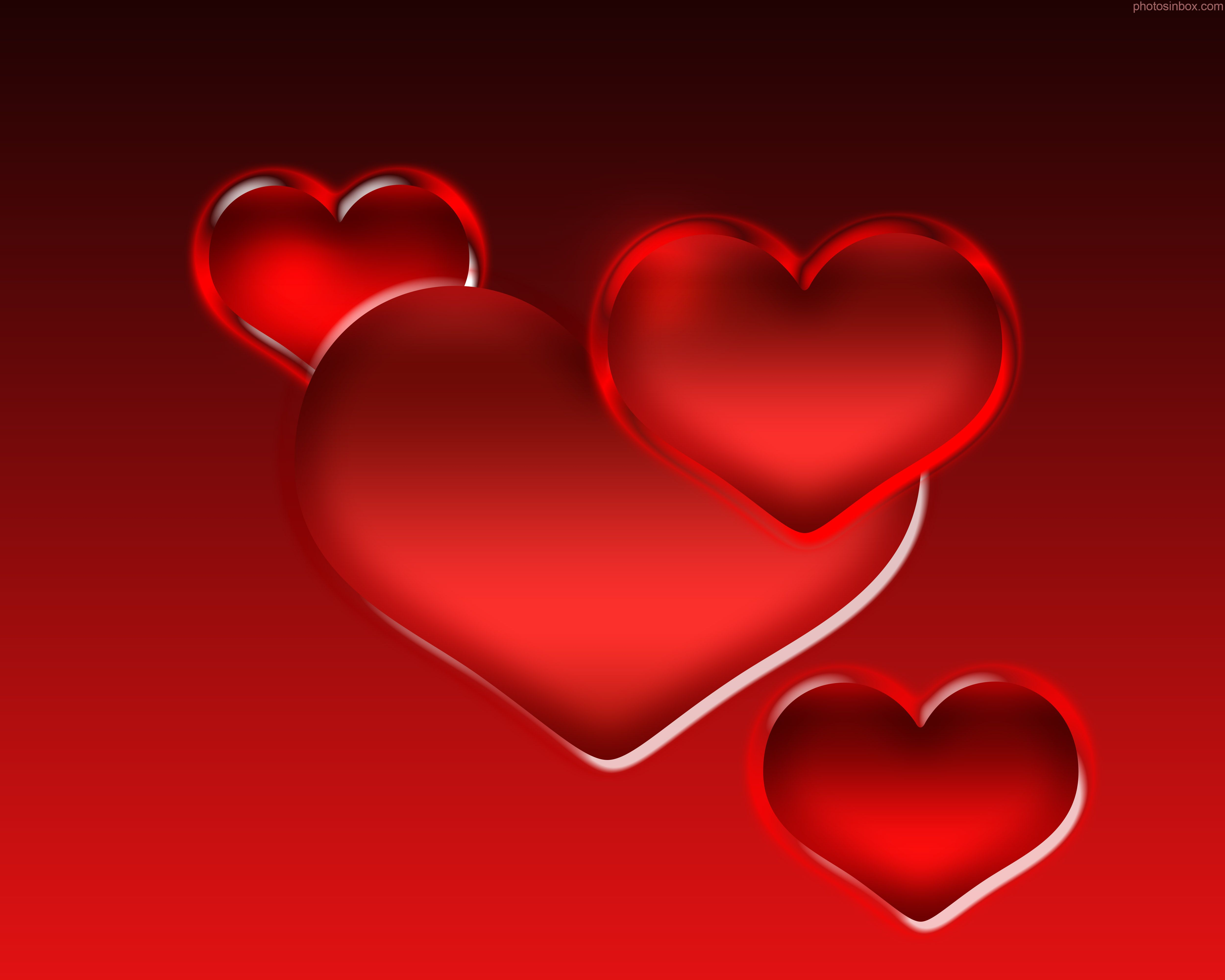 3d Heart Wallpaper Cute Red Hearts Background Free