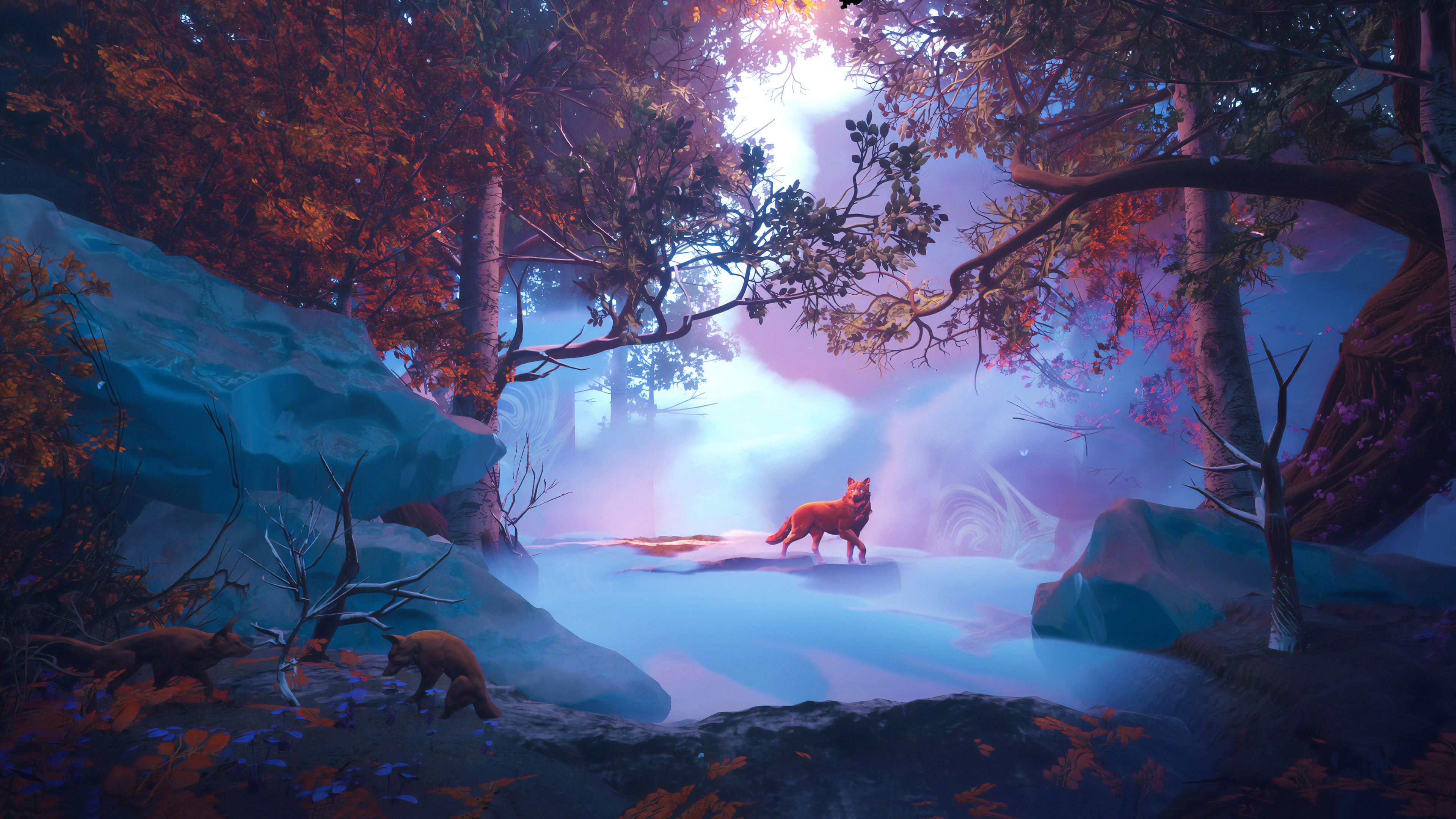 Wolf In Red Magical Woods 4k HD Artist 4k Wallpapers