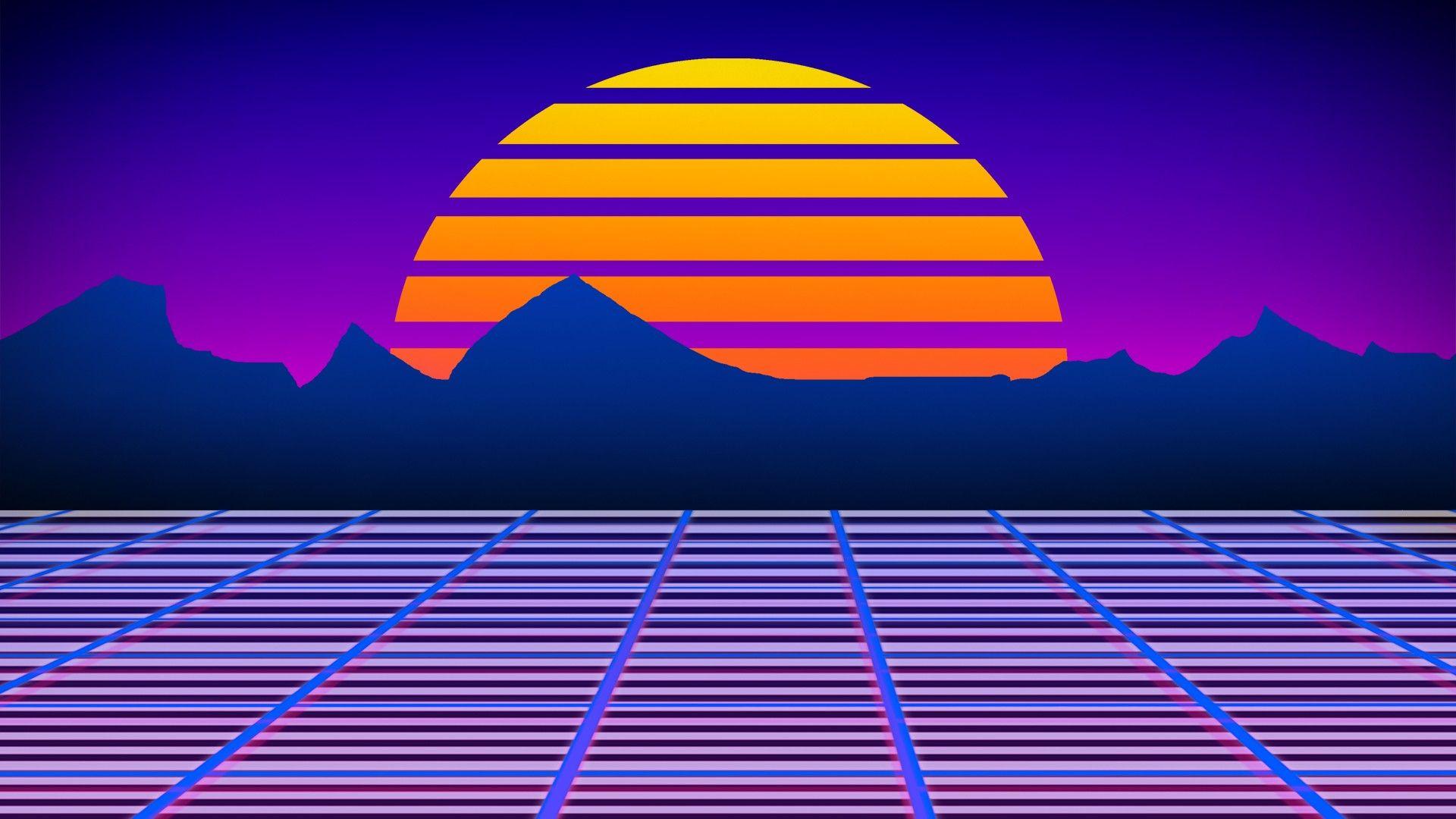 1980s Neon Wallpaper Lazer Mohawk Retro Games Robot Sunset
