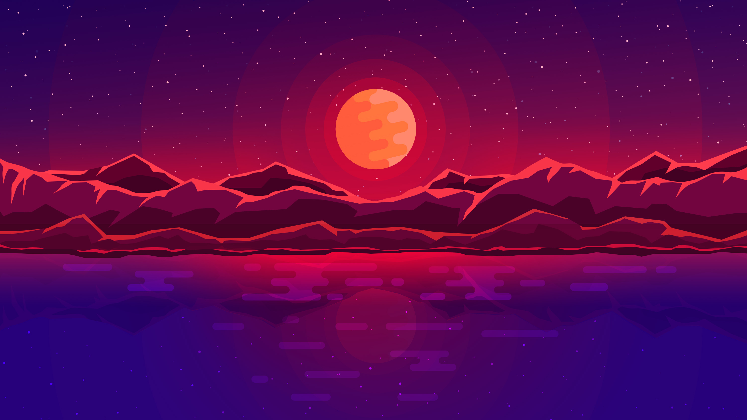 Moon Rays Red Space Sky Abstract Mountains HD Artist 4k