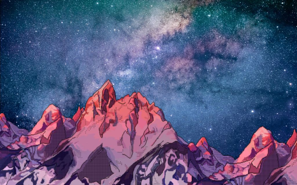 Free download galaxy background mountains 80s wallpaper