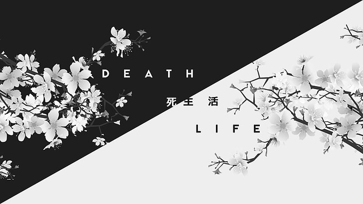 HD wallpaper death Japan kanji life dark white