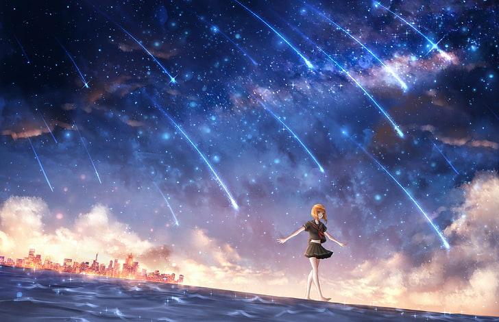 HD wallpaper anime anime girls starry night one person