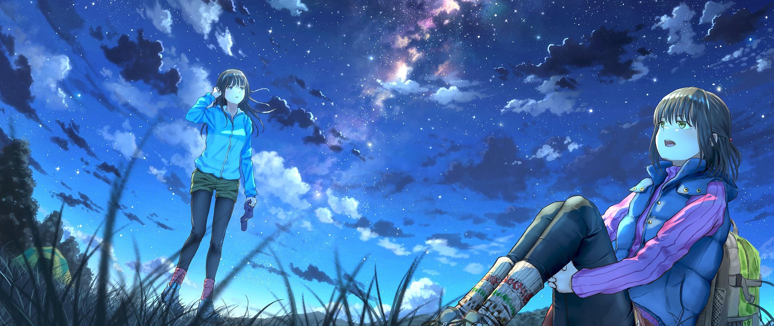 Anime Girls Night Sky Scenery Clouds Stars 4K Wallpaper 64