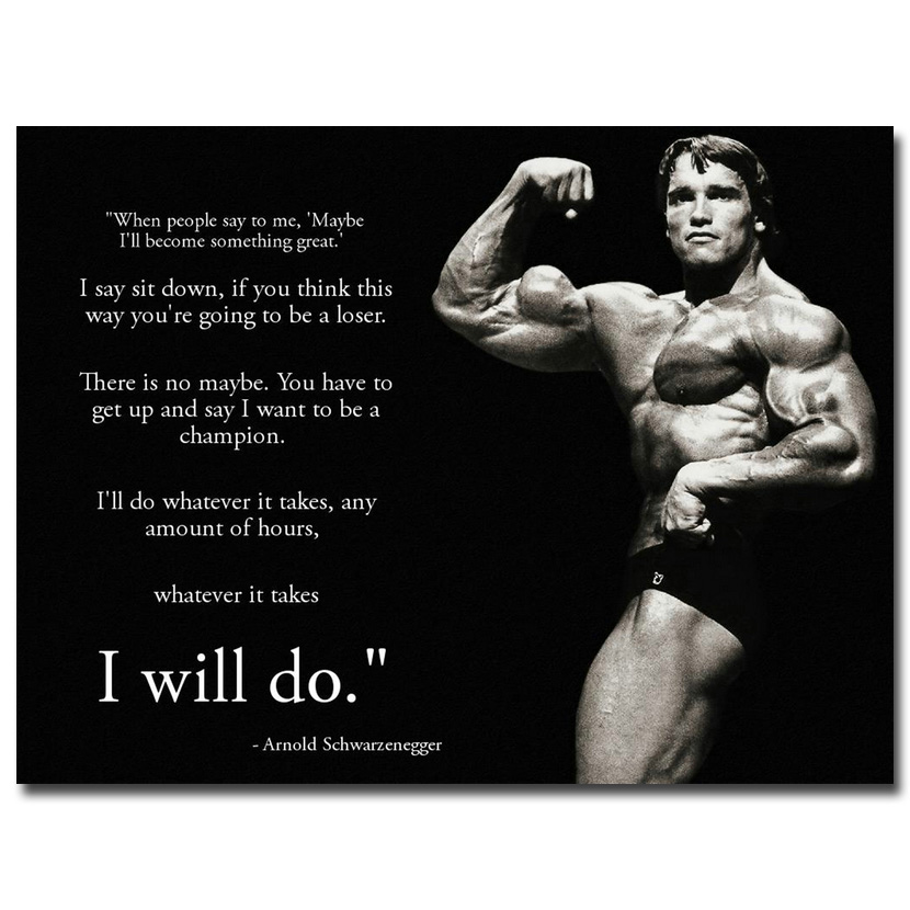 A768 Art Poster Arnold Schwarzenegger Motivation Bodybuilding Quote room decor24