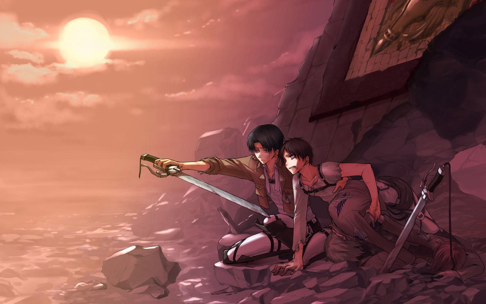 Attack On Titan Eren And Levi Wallpaper