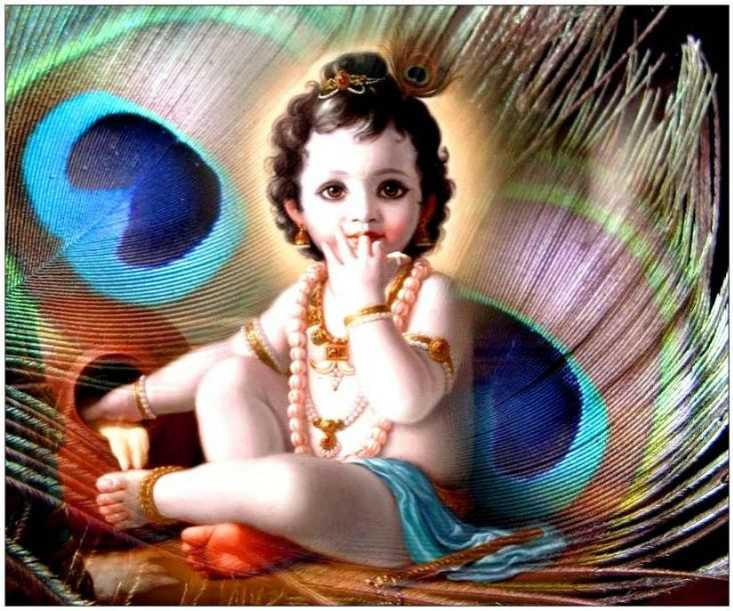 Wallpaper Cute Baby Beautiful Krishna Full HD 1080p