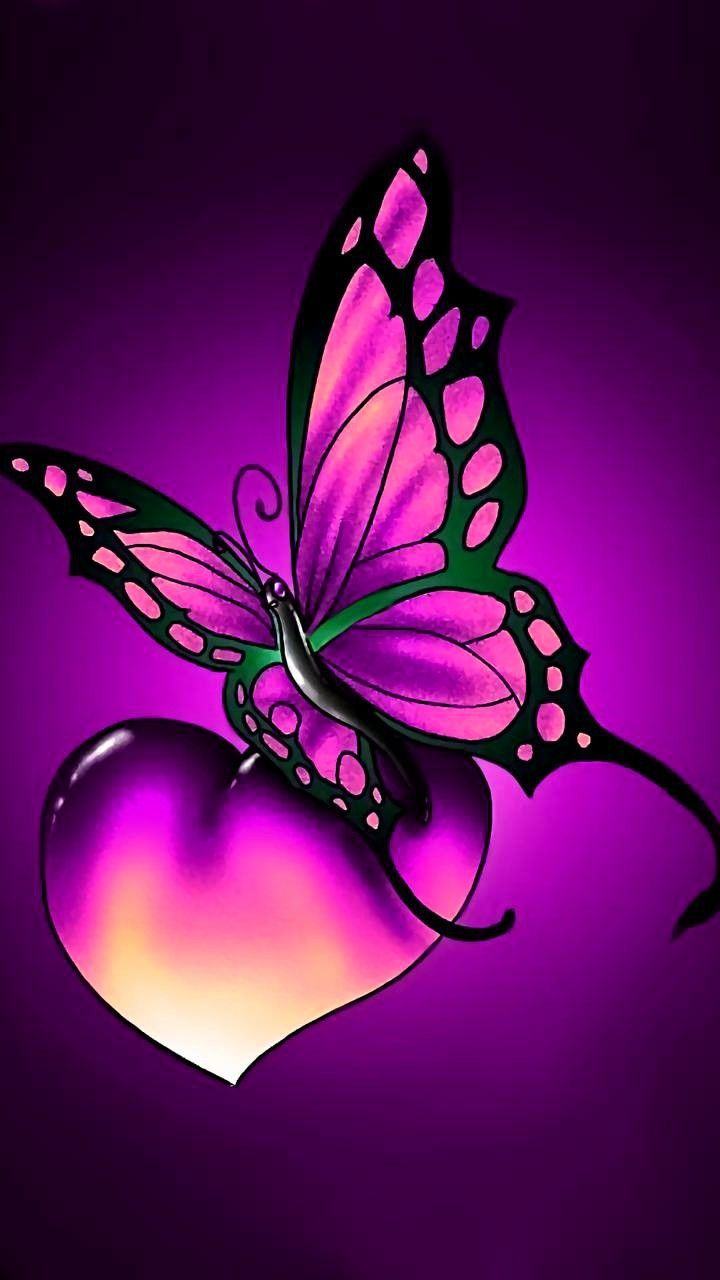 Purple Heart and Buttefly in 2019 Butterfly wallpaper