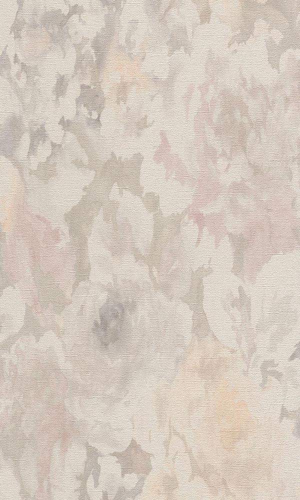 Vintage Floral Abstract Watercolor Splatters Wallpaper Taupe and Orange R4759
