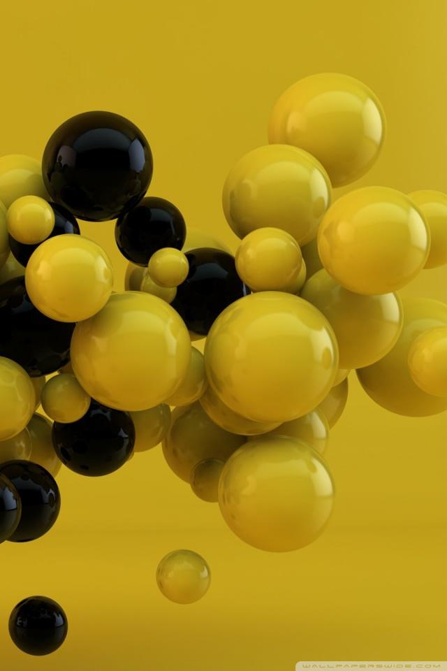 Yellow and Black Balls 4K HD Desktop Wallpaper for 4K Ultra