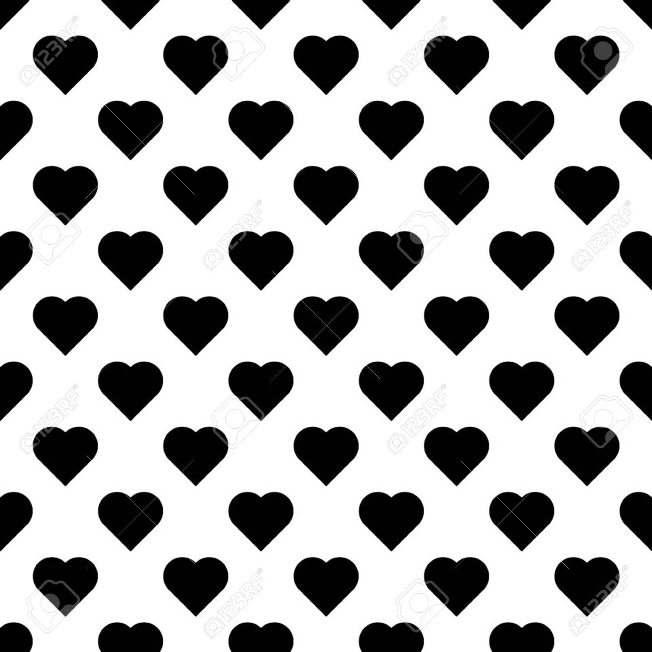 Seamless pattern with hearts. Black hearts on white background