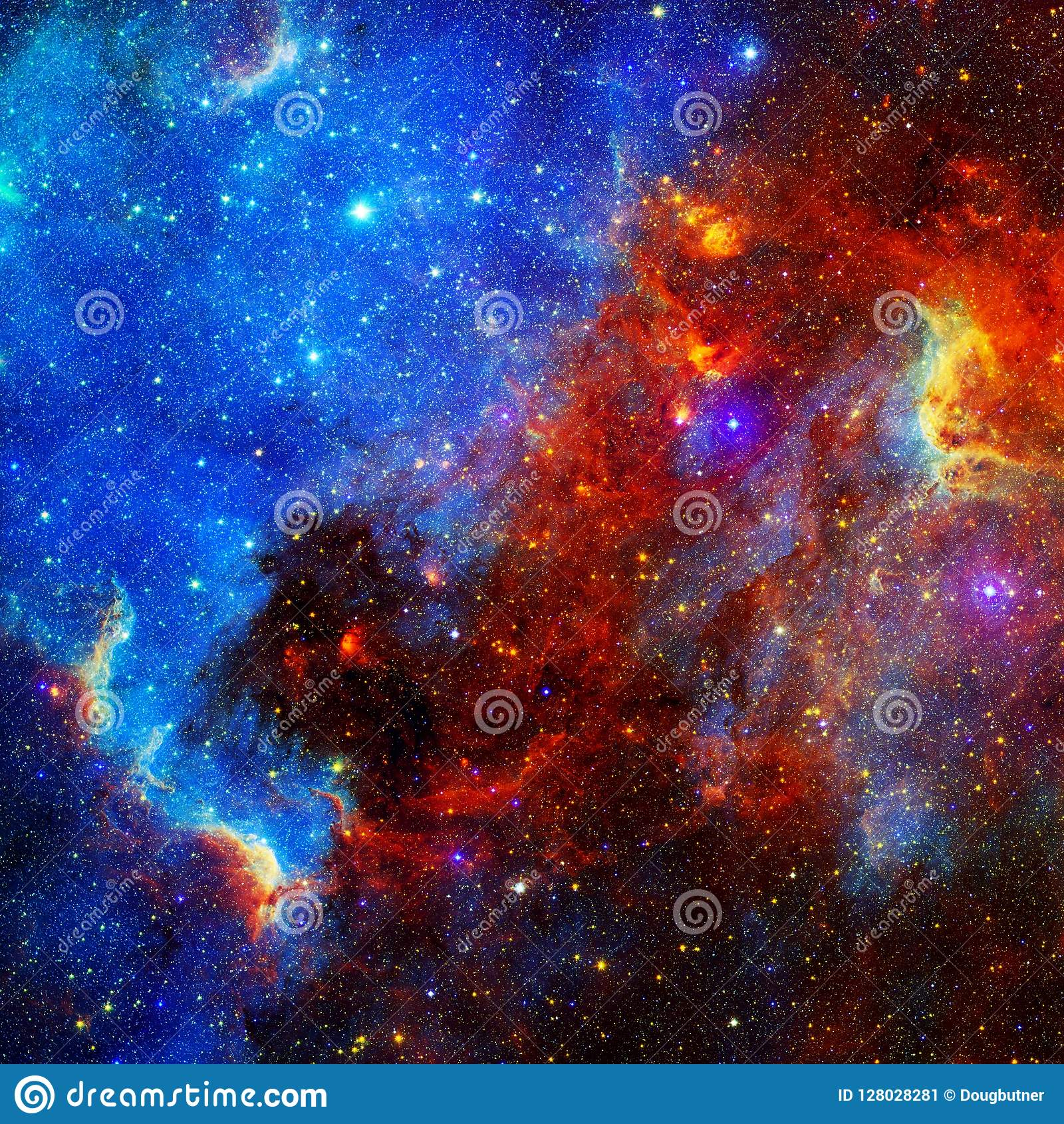 Stars Of Blue And Red Fractal Art Background Wallpaper