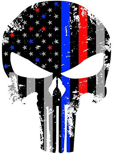 PUNISHER  BLUE LIVES MATTER POLICE METAL LICENSE PLATE AMERCAN FLAG