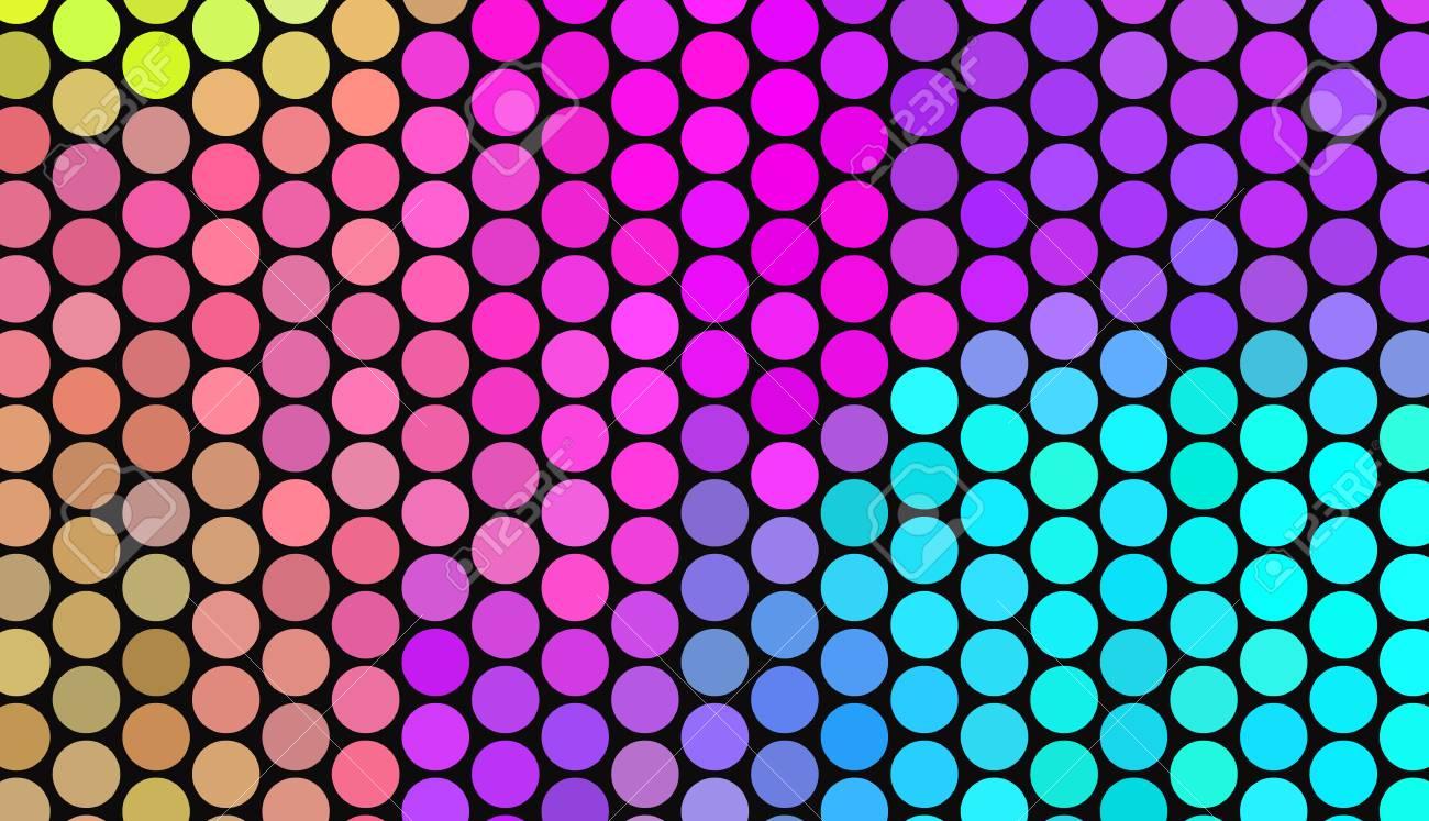 Big polka dots on dark background. Bright neon colors. Vivid..