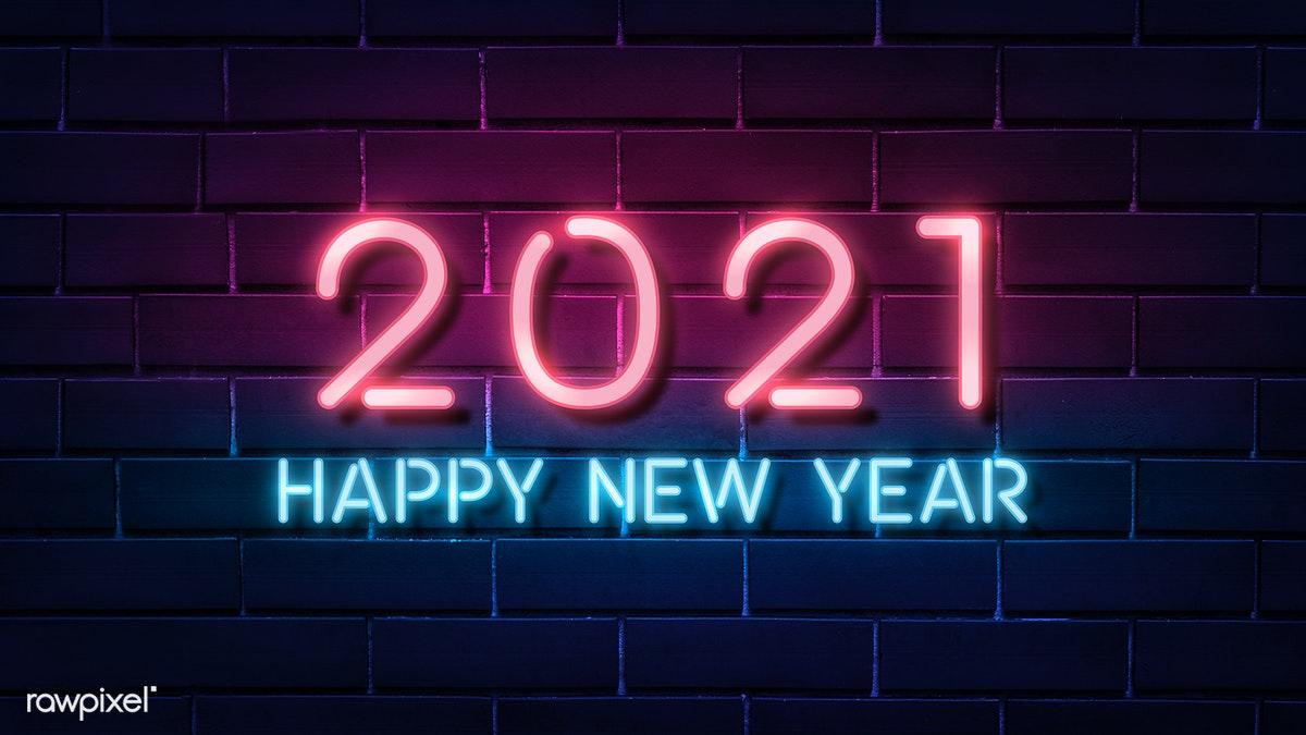 Download premium illustration of Neon bright happy new year 2021 wallpaper