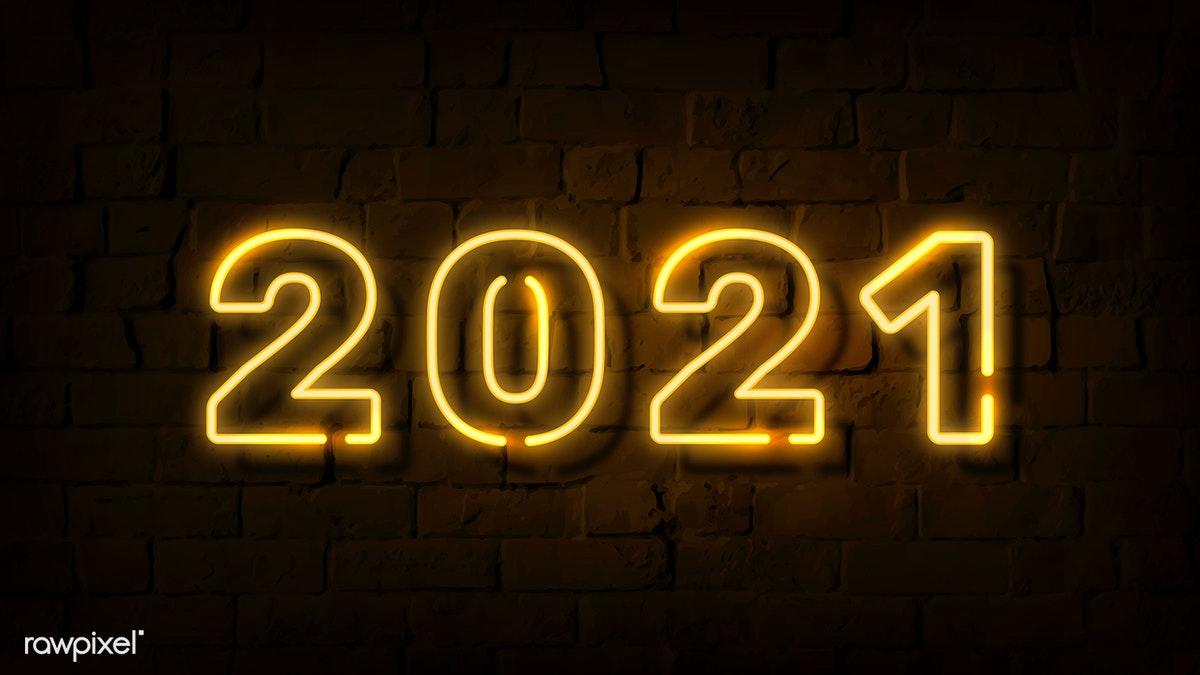 Download premium image of Bright neon yellow 2021 wallpaper vector 1232211