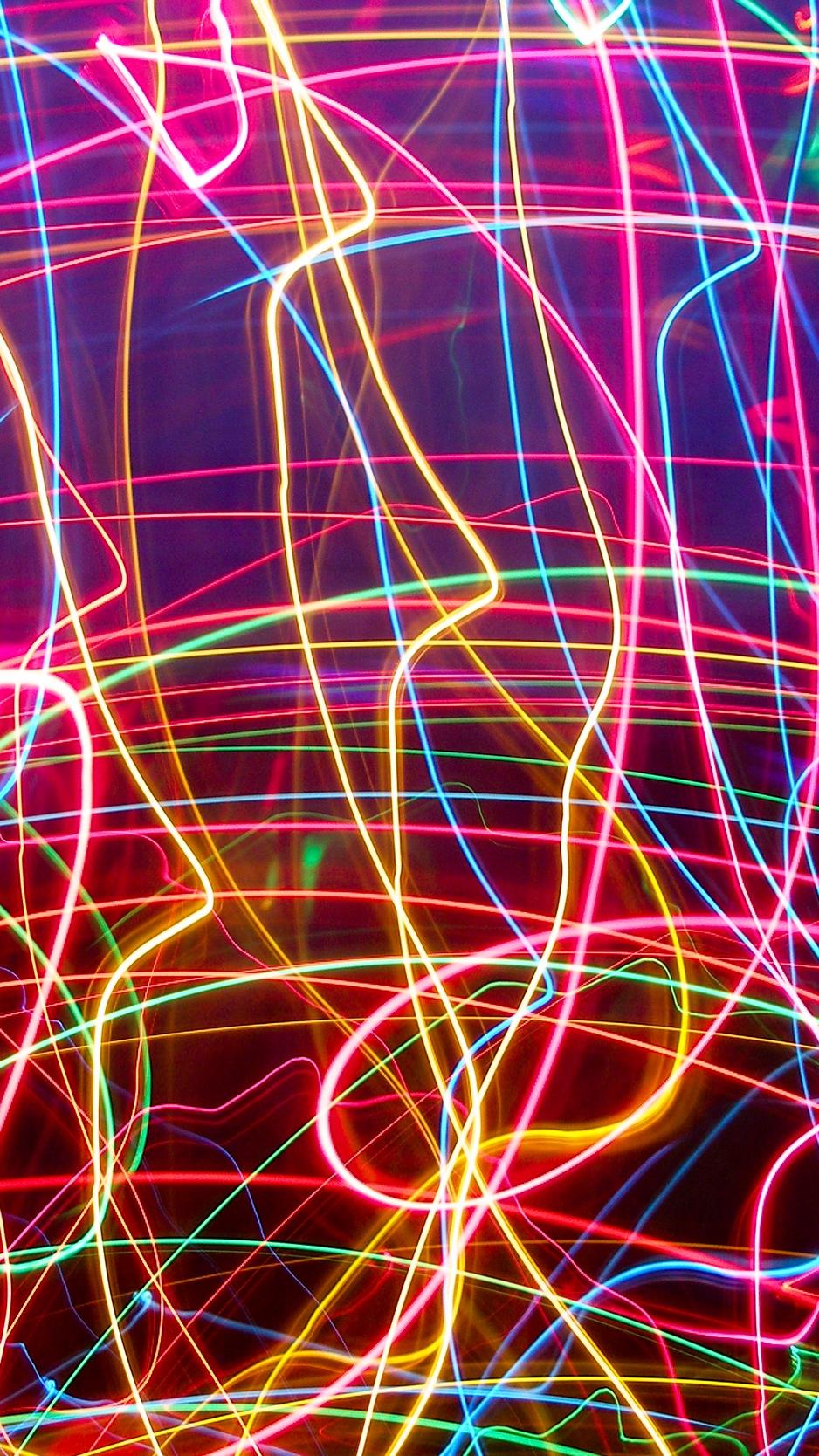 Download wallpaper 938x1668 neon, lines, plexus, light