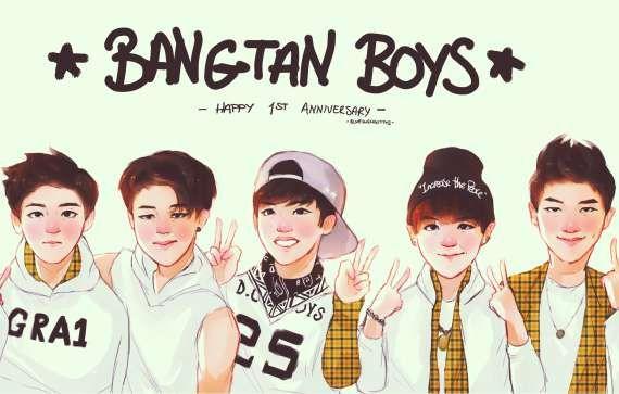 BTS Kpop Cartoon Drawing Bts wallpaper, Bts american