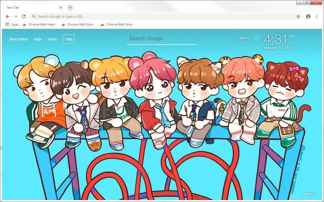 BTS Chibi HD Wallpapers New Tab Themes HD Wallpapers