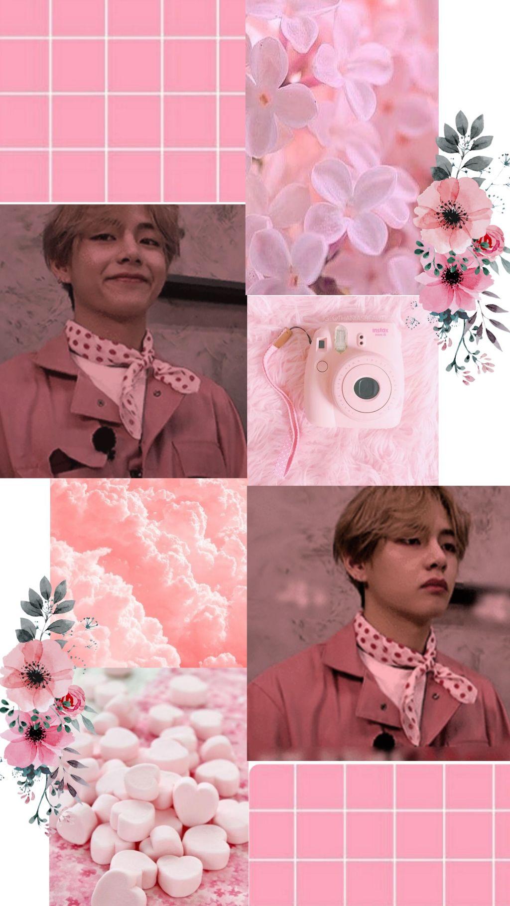 DONTEDIT V kimtaehyung bts pink cute wallpaper BTS MINE