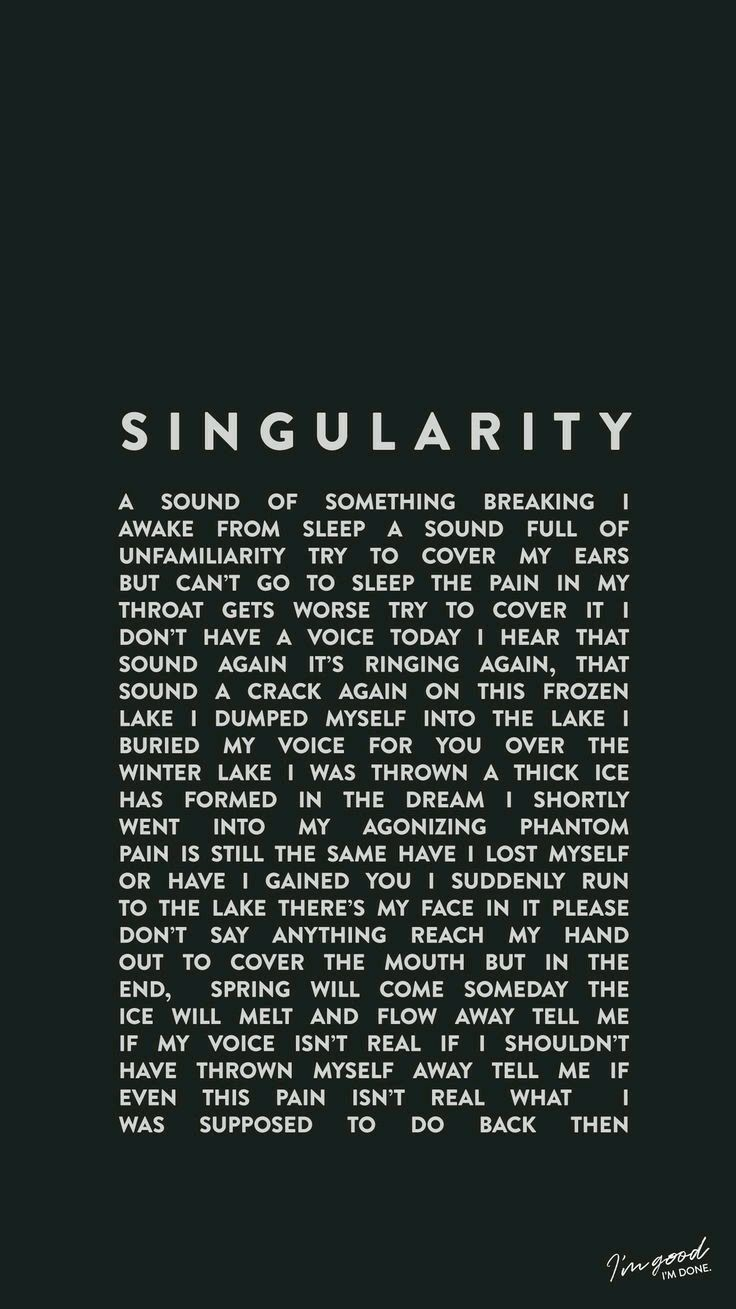BTS V singularity lyrics wallpaper in 2019 Bts wallpaper
