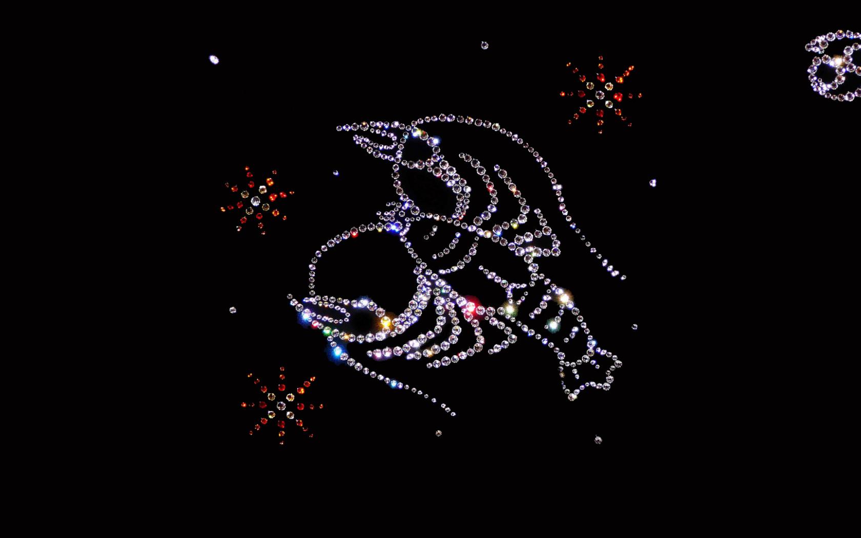 Shiny zodiac sign Cancer on a black background Desktop