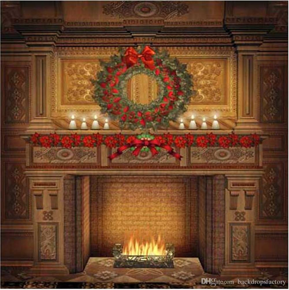 DaShan 12x10ft Christmas Fireplace Living Room Backdrop Tree Fireplace Rustic Christmas Xmas Ornament Christmas Wall Photography Background Pine Tree New Year Family Winter Holiday PhotoProp