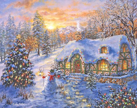 Christmas Cottage Wallpaper Posted By John Cunningham