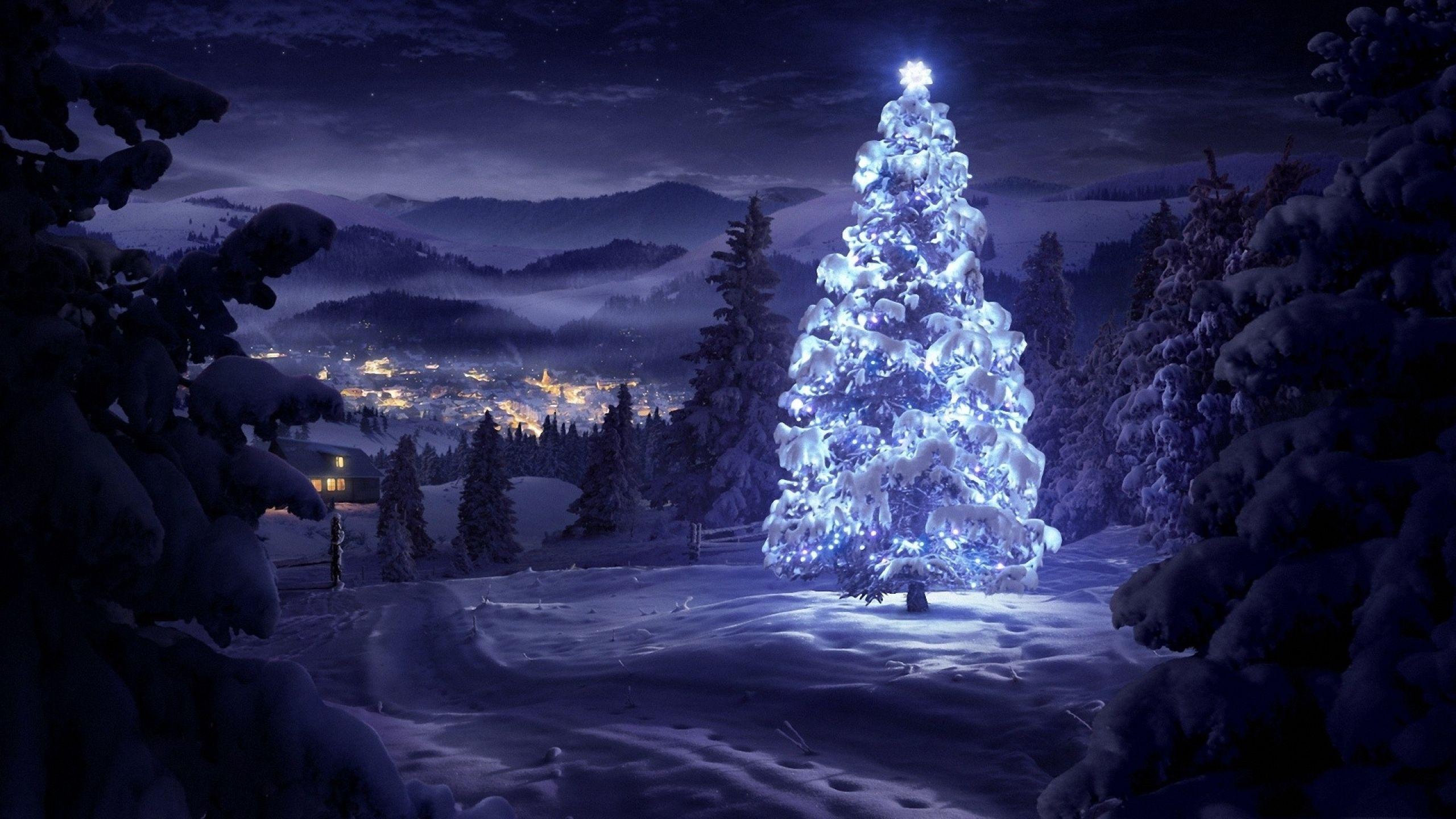 Christmas tree in the snow wallpaper Christmas tree
