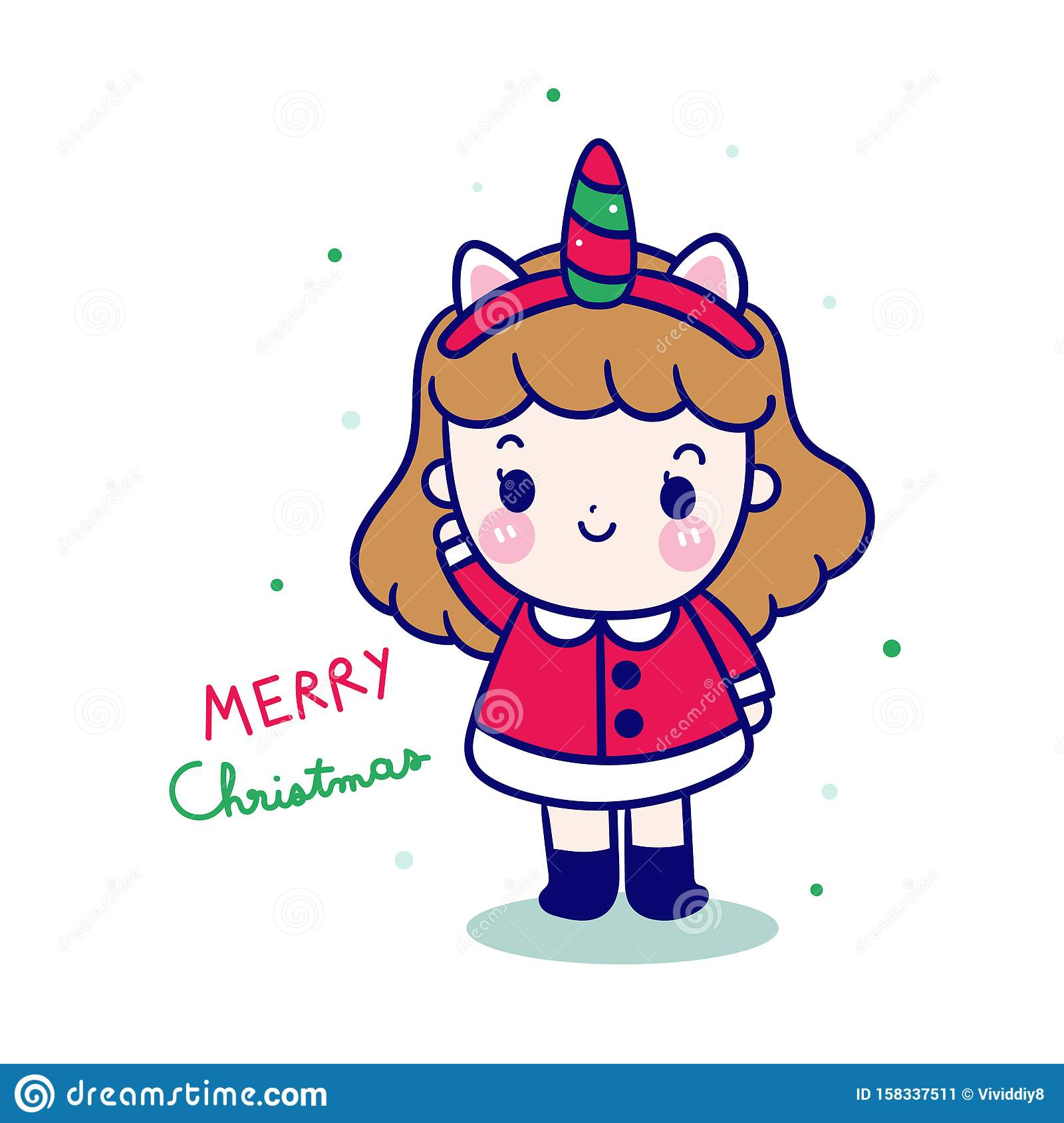 Cute Santa Clause Cartoon Beautiful Magical Unicorn Baby