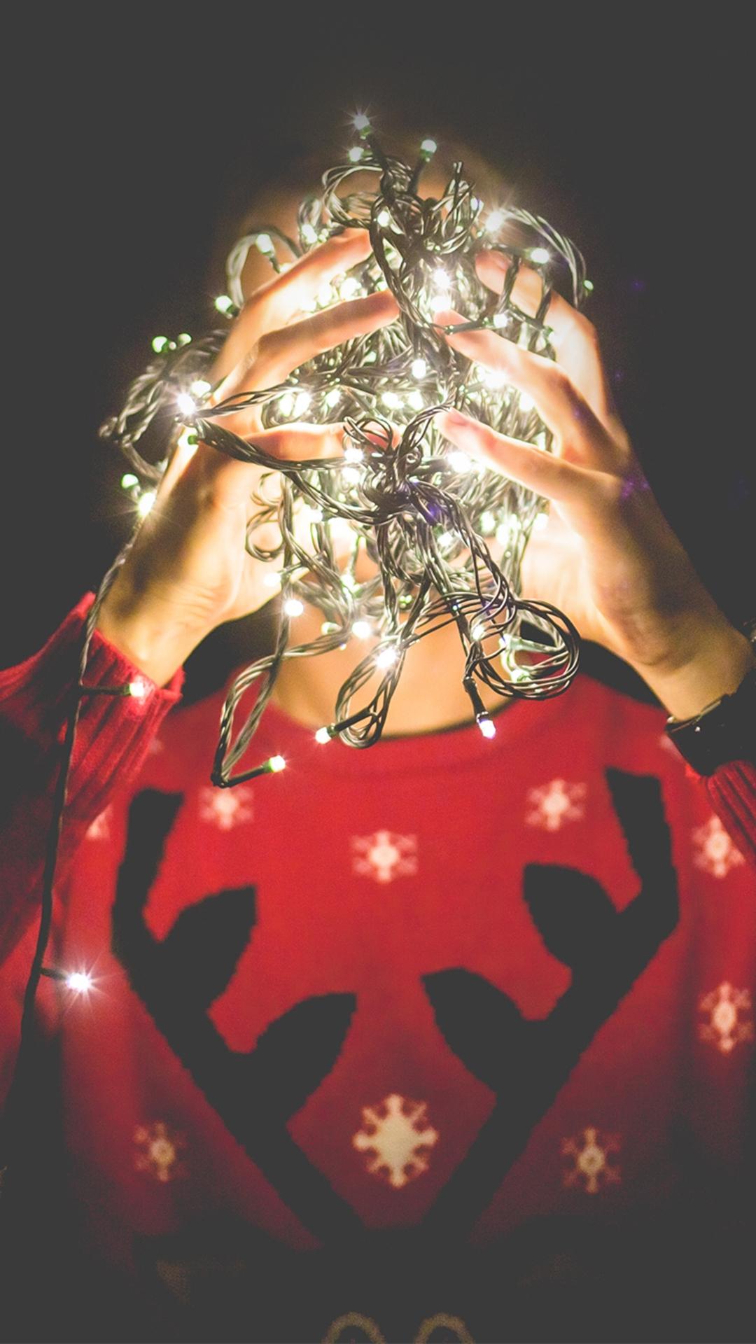 Christmas Lights Reindeer Sweater iPhone 8 Wallpapers Free