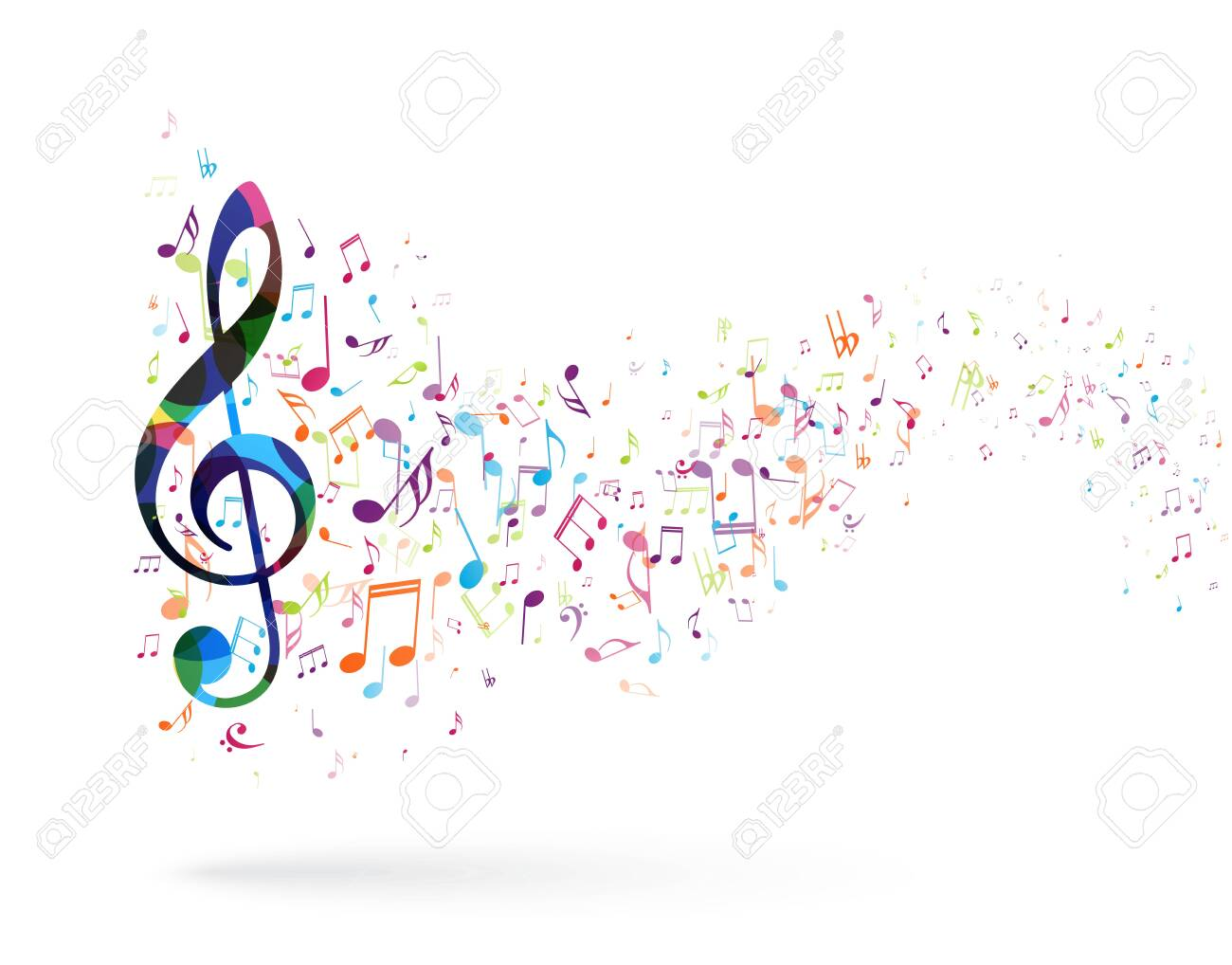 Transparent Music Note Png - Clipart Colorful Music Notes Transparent  Background, Png Download - vhv
