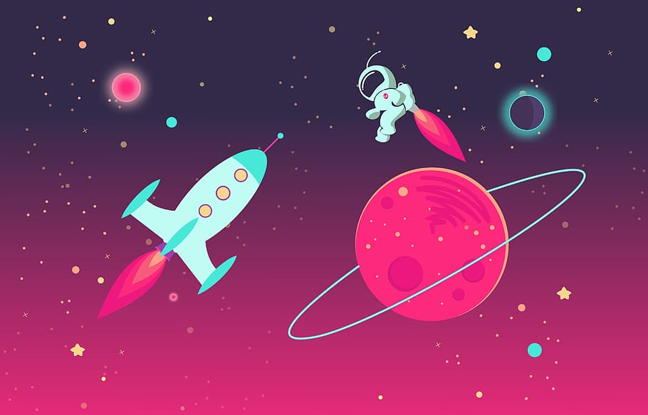 HD wallpaper Cartoon Astronaut and Rocket in Outer Space
