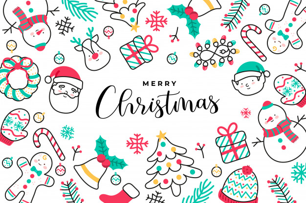 Cute handdrawn christmas background Vector Free Download