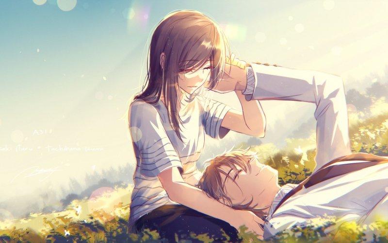 Desktop Wallpaper Cute Anime Couple Meadow Love Hd