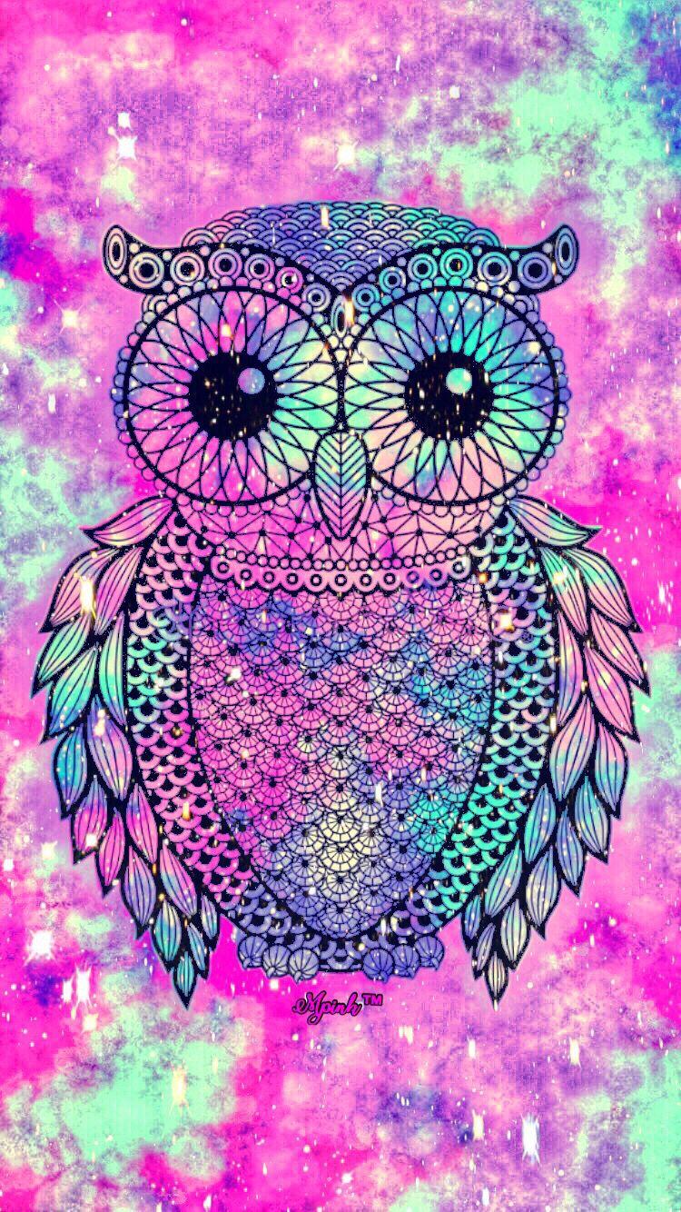 Cute Owl Galaxy iPhoneAndroid Wallpaper owl lockscreen