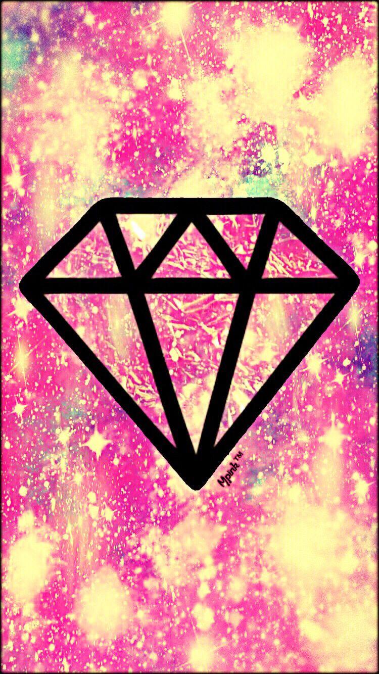 Pink Bling Diamond Galaxy Wallpaper Sketch App Logo Black