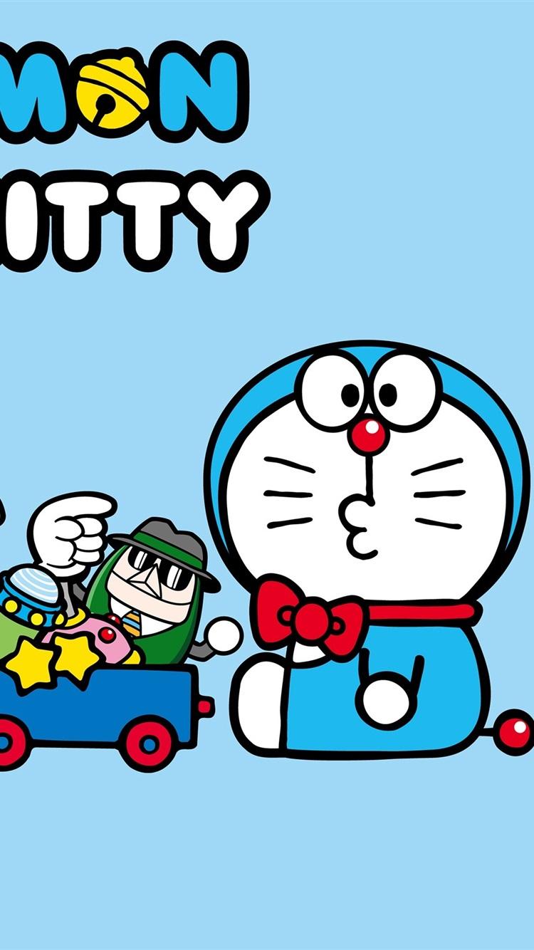 Doraemon with Hello Kitty 750x1334 iPhone 8766S wallpaper