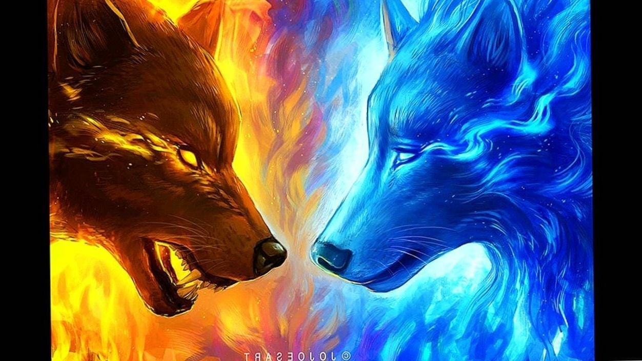 Ice Wolf And Fire Wolf Wallpapers Wolf Wallpapers.Pro