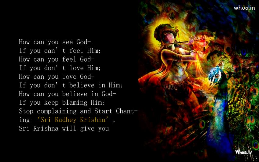 Krishna Playing Flute With Quotes Wallpaper