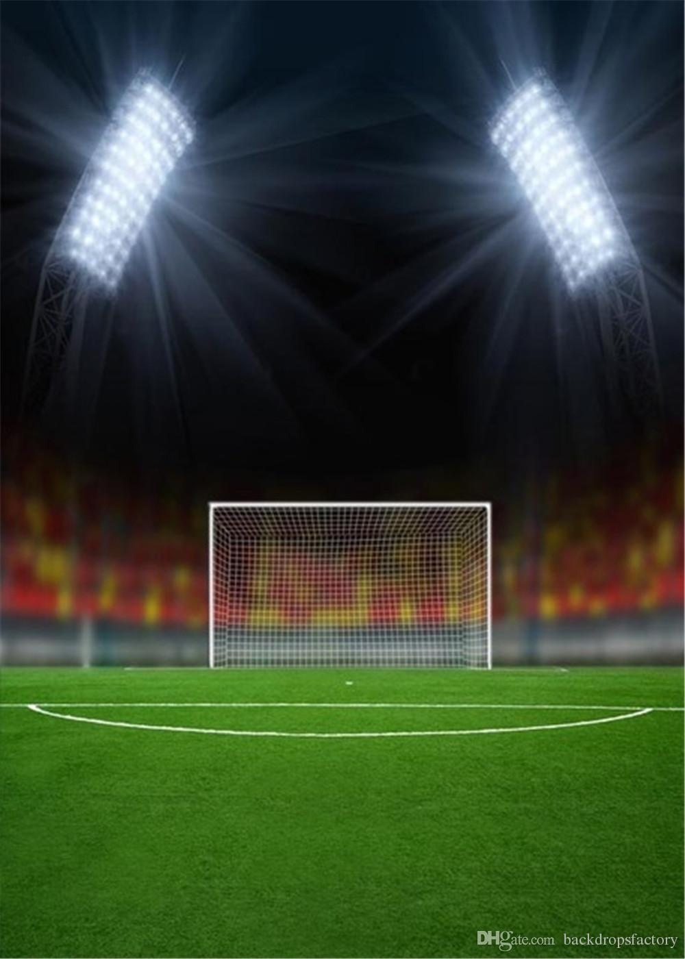 Football Soccer Stadium Aerial View Scene 12x8ft Vinyl Photography Background Bright Spotlights Numberous Bleachers Seats Sports Theme Backdrop Adult Sportsman Portrait Shoot Birthday Banner