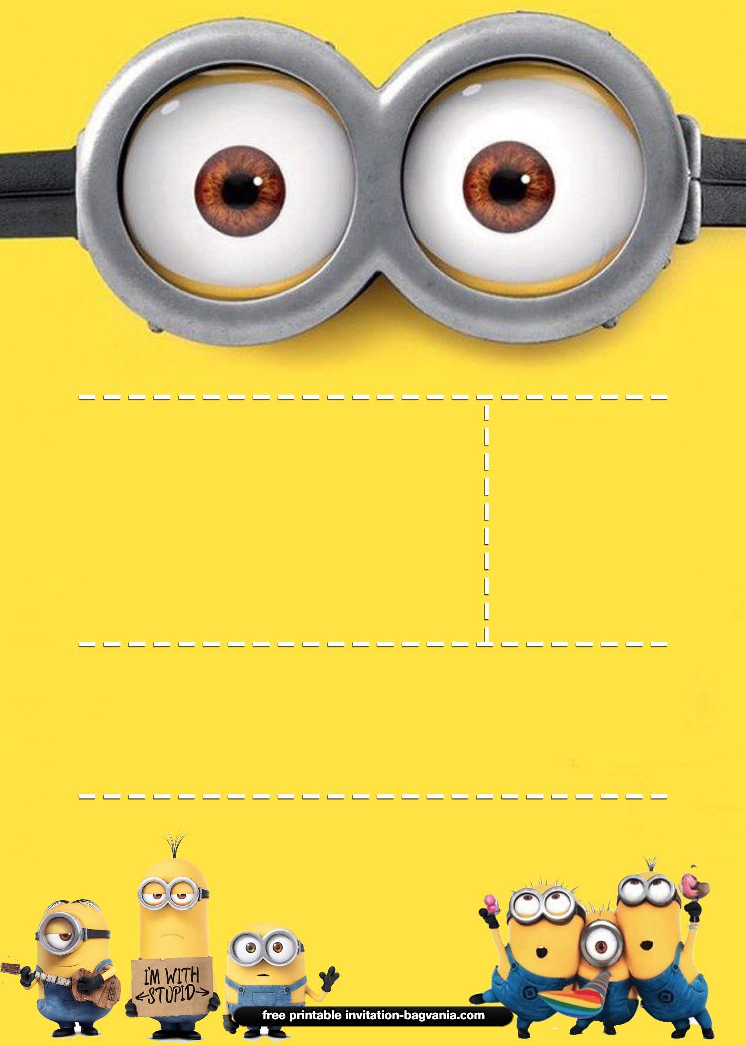 It is an image of Free Printable Minion Invitations pertaining to handmade