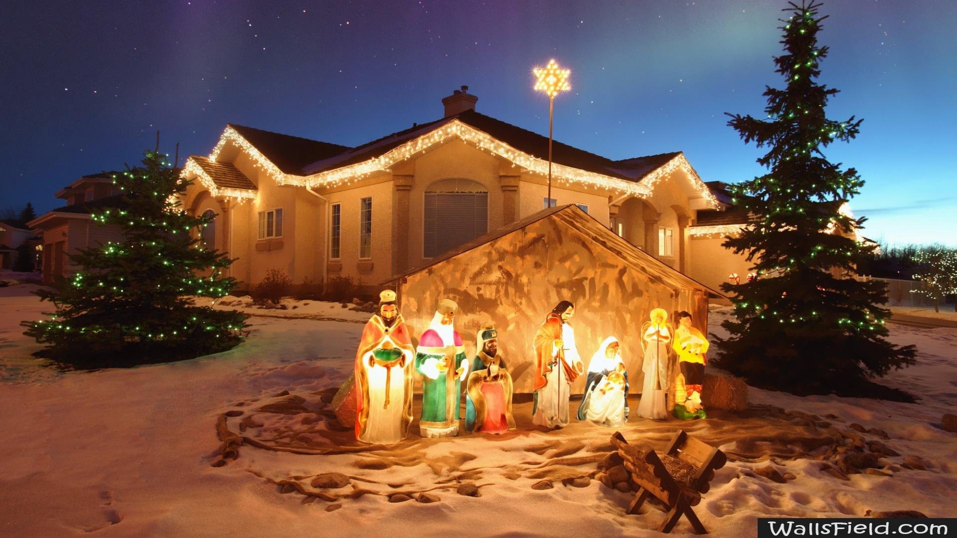 Outdoor Christmas Nativity Scene Wallsfield.com Free HD