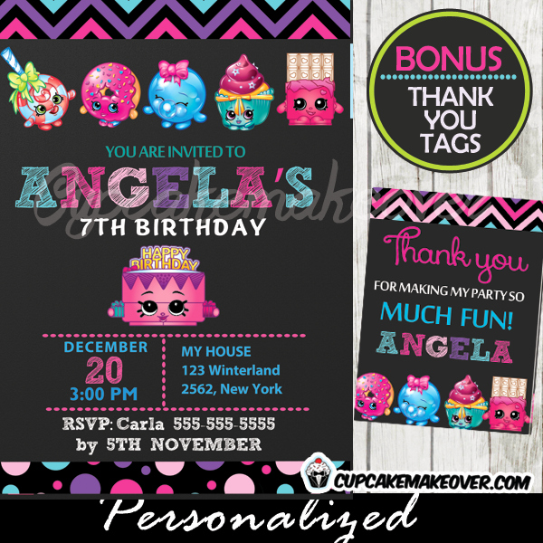 This is an image of Shopkins Birthday Card Printable for invite