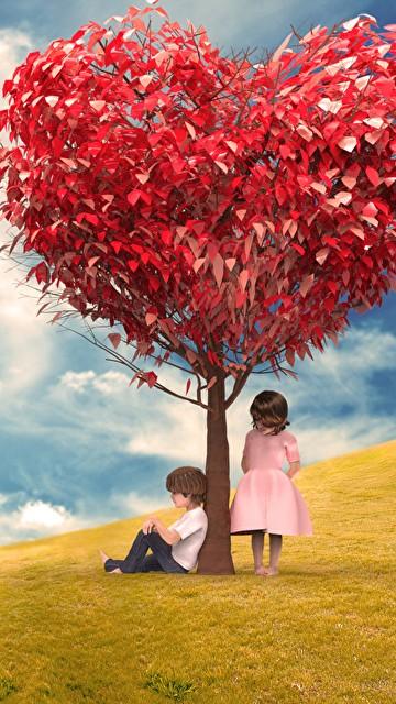 Image Little Girls Boys Heart Love Nature Grasslands Trees