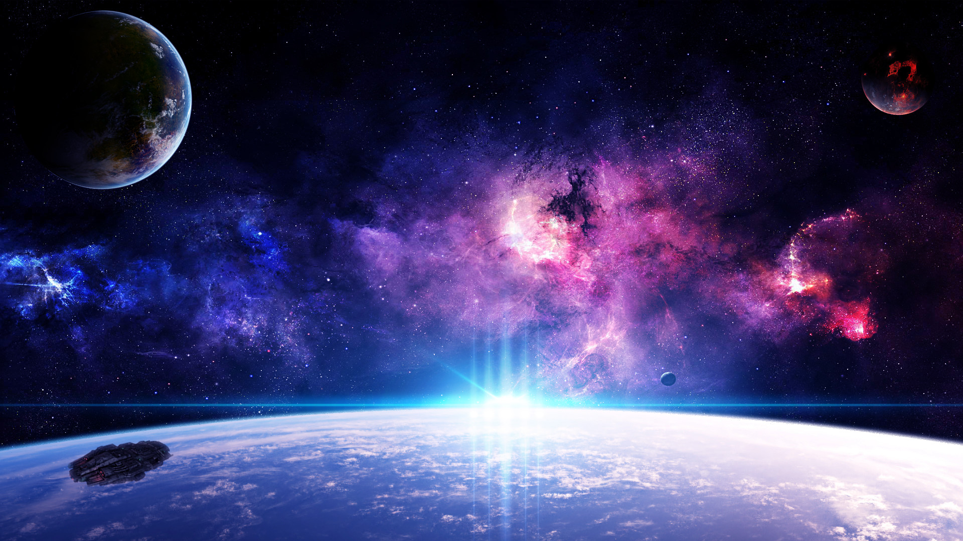 Purple Galaxy Background 1920x1080