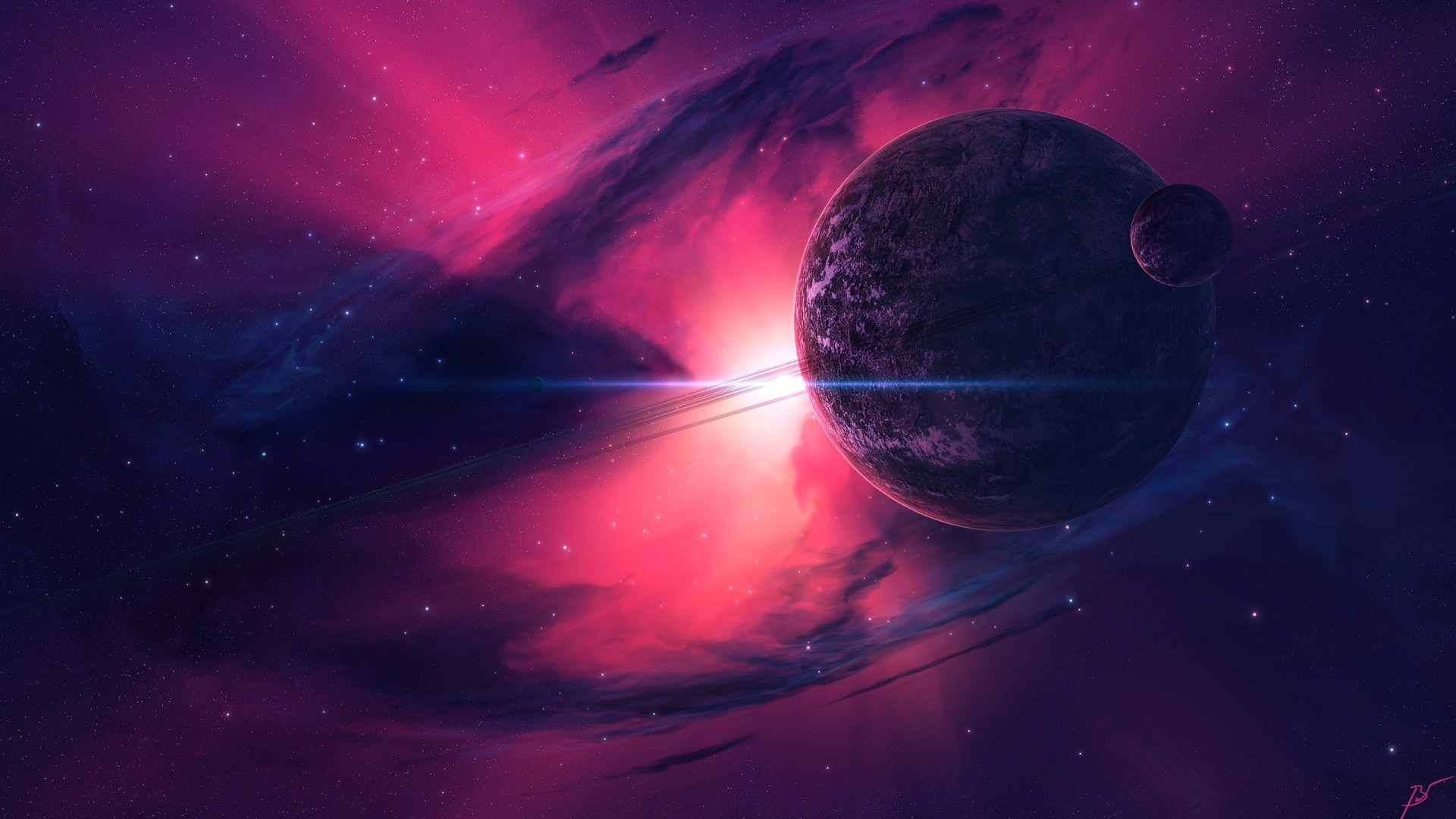 Download 1920x1080 Pink Galaxy, Planets, Galaxy Wallpapers