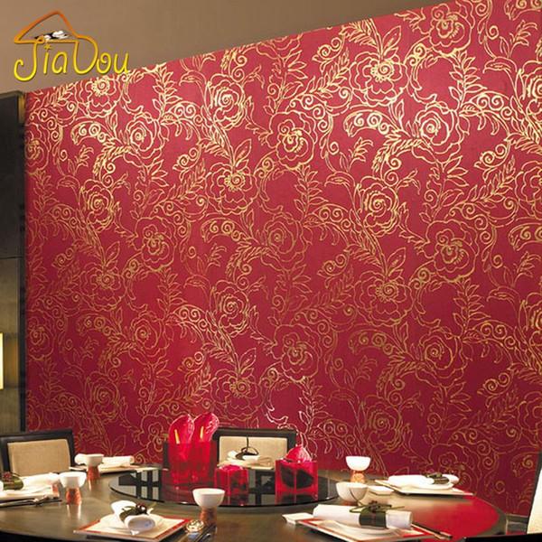 Gold Foil Wallpaper 3D Red Peony Flower Glitter Wallpaper Waterproof KTV Marriage Room Bedroom Wall Decoration Wall Paper Roll Desktop Wallpapers In